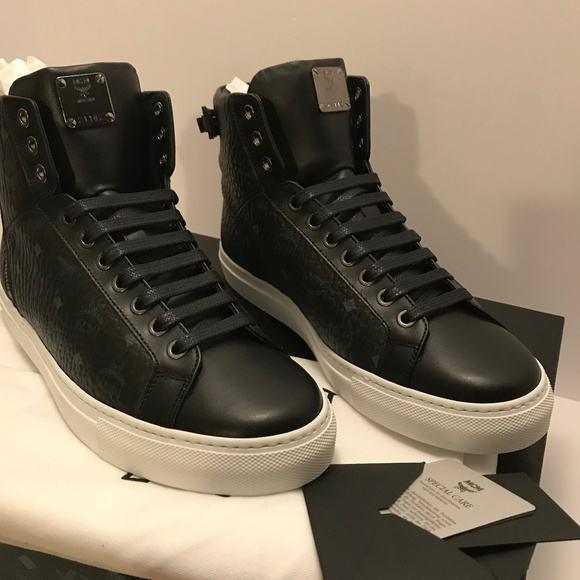 49f03bf6bb6 mcm Shoes | Visetos High Top Sneaker With Zipper Ankle | Poshmark